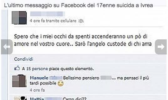 Ivrea: 17 anni annuncia il suicidio su facebook e poi si getta da un terrazzo