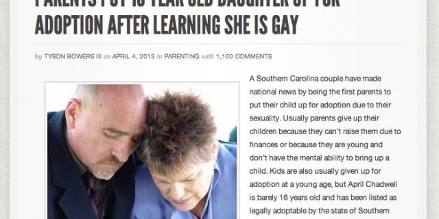 Nostra figlia è gay: la diamo in adozione