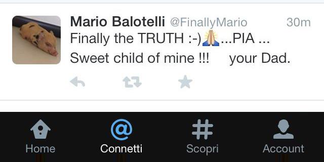 """Balotelli annuncia su Twitter: """"Pia è mia figlia!"""""""
