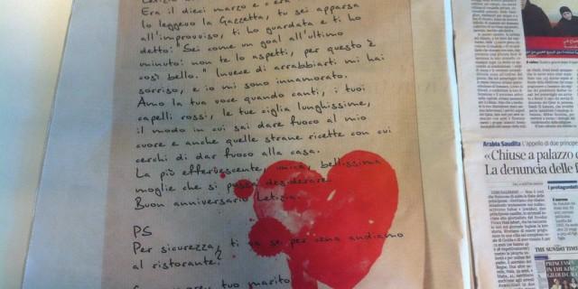 Marito romantico compra una pagina sul Corriere della Sera per la sua donna
