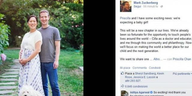 """""""Social baby"""" in arrivo. Zuckerberg si confessa: dopo il dolore di tre aborti, finalmente papà"""