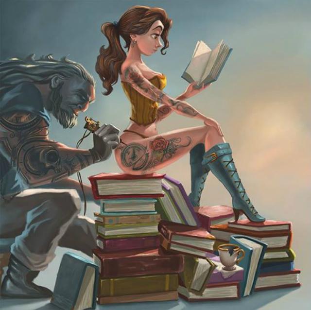 Belle tatuata dalla Bestia come una pin-up