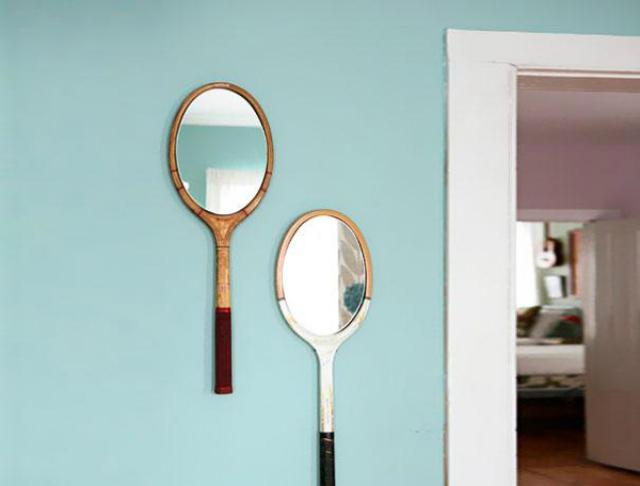 Racchette da tennis trasformate in specchio