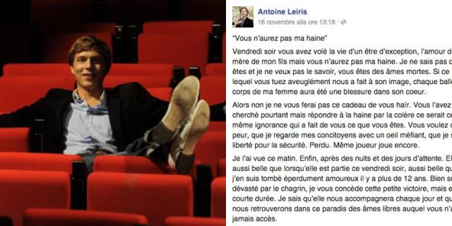 """Parigi, Perde la Moglie negli Attentati e Scrive ai Terroristi: """"Non Avrete il Mio Odio"""""""