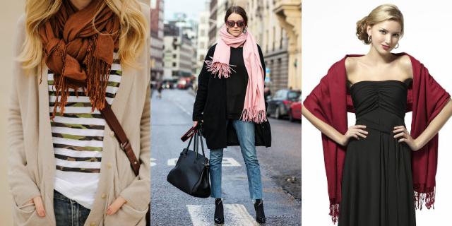 come indossare la pashmina