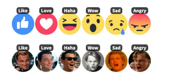 facebook reactions personalizzate dicaprio