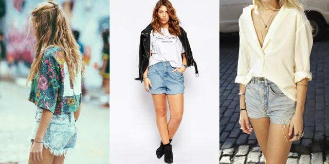 Shorts a vita alta in jeans