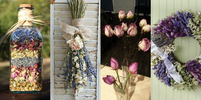 Composizioni floreali con fiori secchi