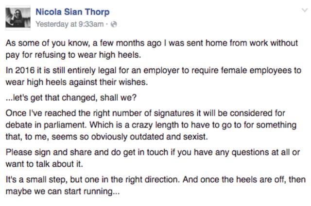donna licenziata perché non ha tacchi