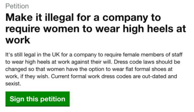la petizione di nicola thorpe anti tacchi alti