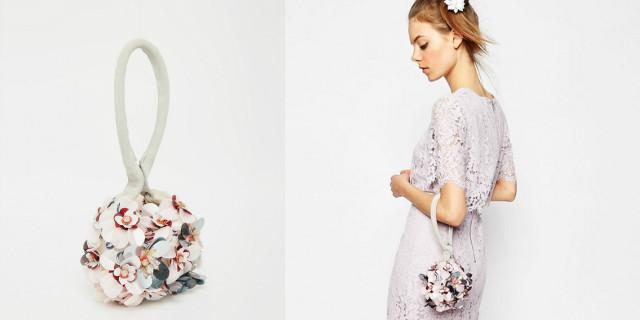 Pochette matrimonio con fiori