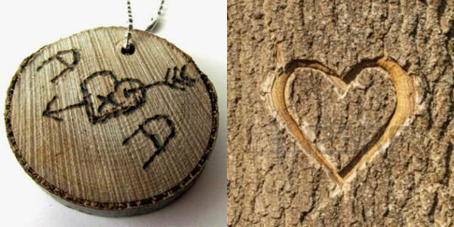 Portachiavi fai da te legno con iniziali incise