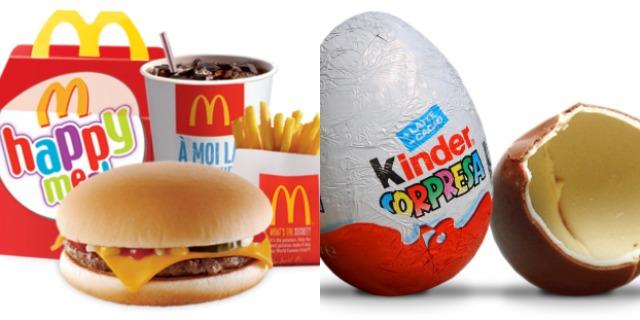 Stop alla vendita di Happy Meal e dell'Ovetto Kinder: ecco perché