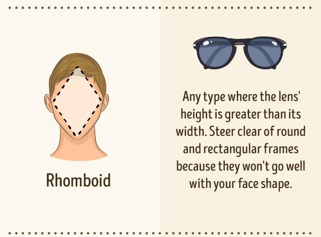 Occhiali da sole per viso a rombo