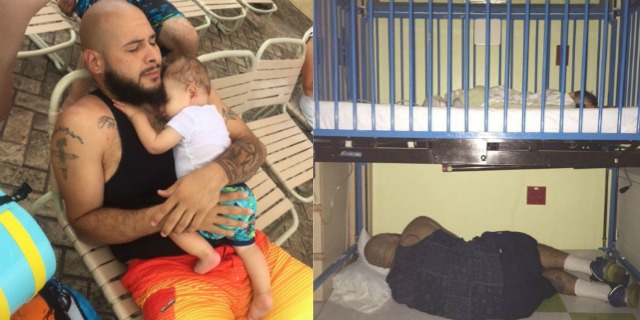 padre dorme sotto il letto del figlio