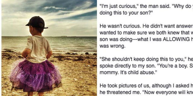 Il suo bambino indossa il tutù e viene minacciato: la risposta di questa mamma è eccezionale!