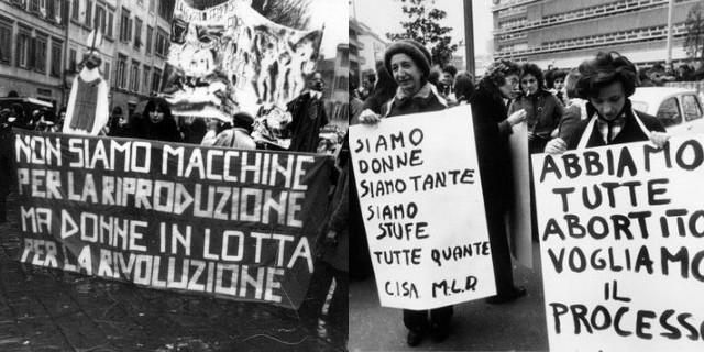 Le lotte delle femministe italiane: divorzio, aborto, diritto di famiglia