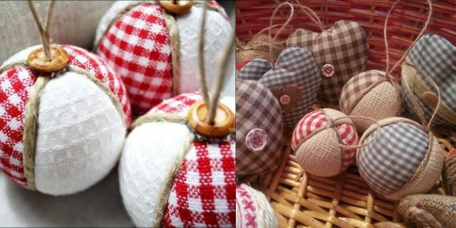 palline di Natale fai da te di stoffa