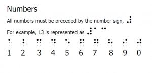 Numero 13 in braille