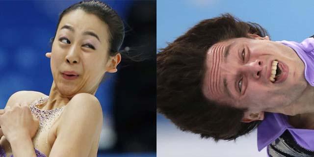 Le espressioni più comiche dei pattinatori olimpici durante le loro performance