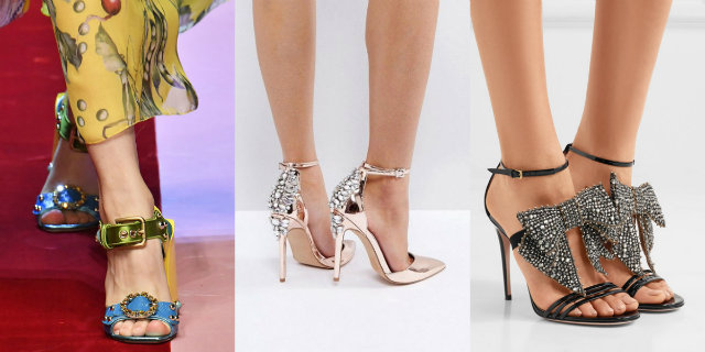 Scarpe Sandali Donna Tacco Largo Fiori Ricamato Cerimonia Eleganti Moda Estate