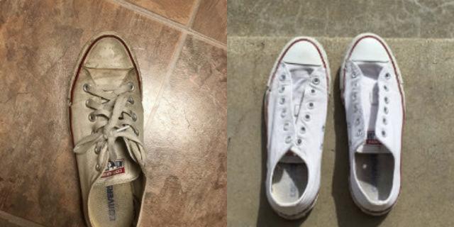 Il trucco per far tornare le sneakers bianchissime diventa virale
