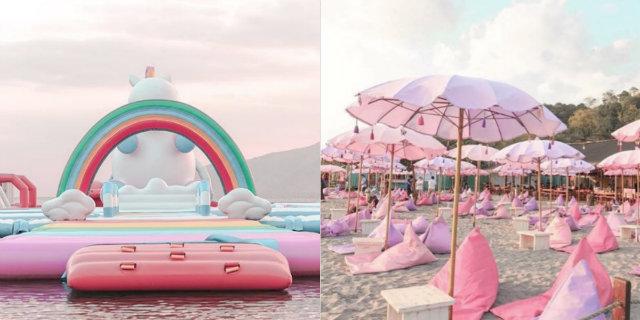 Esiste una spiaggia con un'isola gonfiabile gigante a tema unicorno