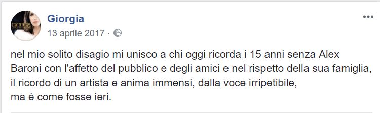 """""""Ciao Marina"""", la dedica di Giorgia per la morte dellla mamma di Alex Baroni"""