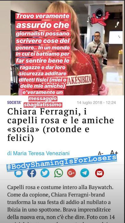 """La risposta di Chiara Ferragni al Corriere che ha definito """"rotonde"""" le sue amiche"""