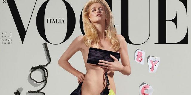 Claudia Schiffer, nuda e bellissima sulla copertina di Vogue a 48 anni