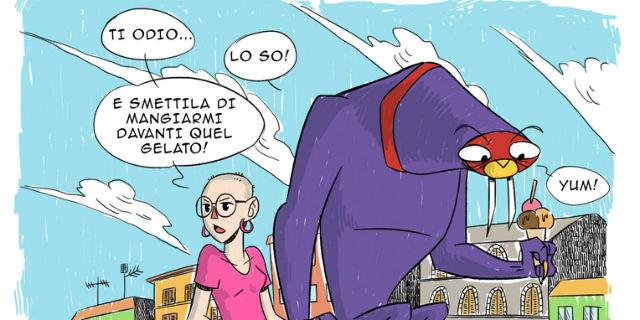 """""""Un mostro viola sempre con me"""": il cancro raccontato come un fumetto da Isabella"""