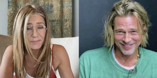 """Brad Pitt e Jennifer Aniston """"flirtano"""" in videocall per una buona causa"""