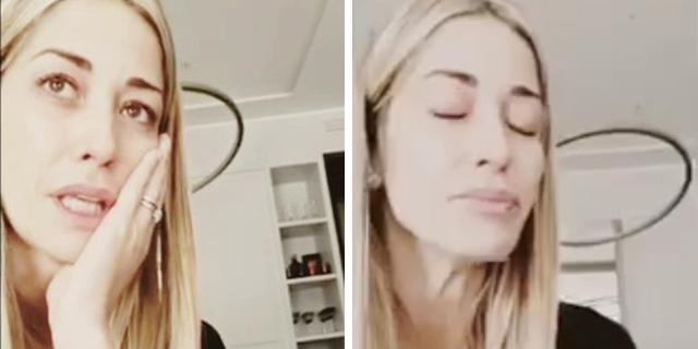 Le lacrime di Elena Santarelli che finalmente può non nascondersi più