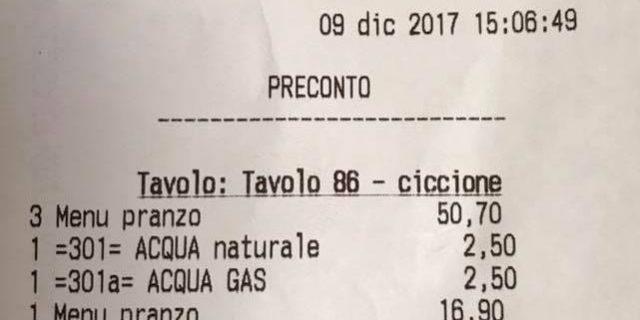 """Clienti definite """"ciccione"""" nello scontrino di un ristorante di Roma"""