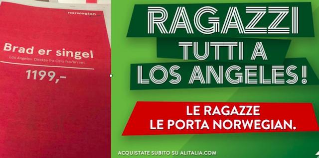 Alitalia vs Norwegian Airlines su Brad Pitt