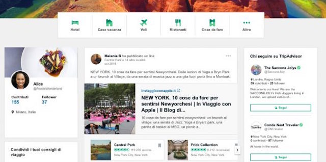 """contenuti utili attraverso un """"feed viaggi"""" personalizzato e dinamico inclusi video, articoli, guide di viaggio, recensioni e molto altro"""