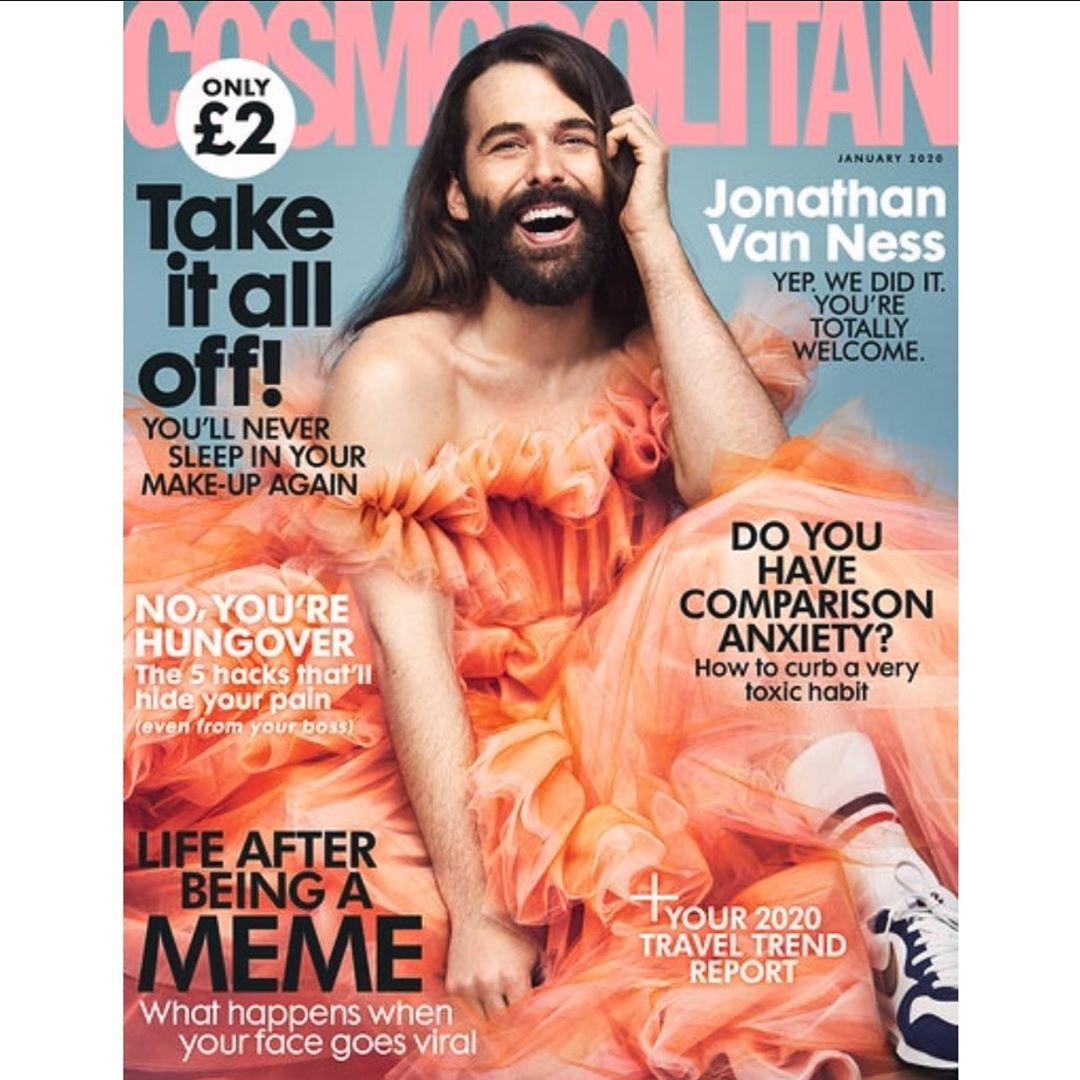 Chi è Jonathan Van Ness, primo modello non femminile in 35 anni in cover su Cosmopolitan UK