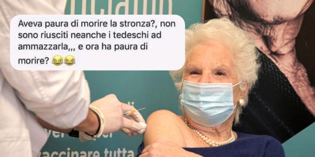Quegli insulti violenti e osceni a Liliana Segre nel giorno del vaccino