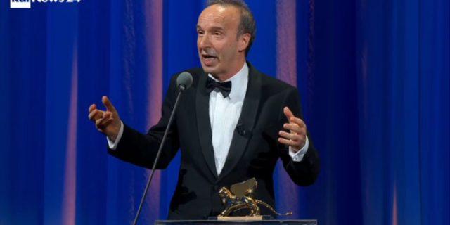 La dedica di Roberto Benigni a Nicoletta Braschi per il Leone d'Oro a Venezia