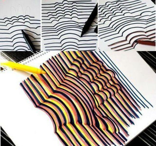 Tecniche di pittura per bambini 15 idee per colorare for Disegni 3d facili per bambini
