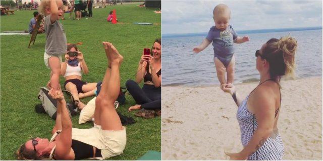 A 18 mesi fa acroyoga con la mamma: il video diventa virale