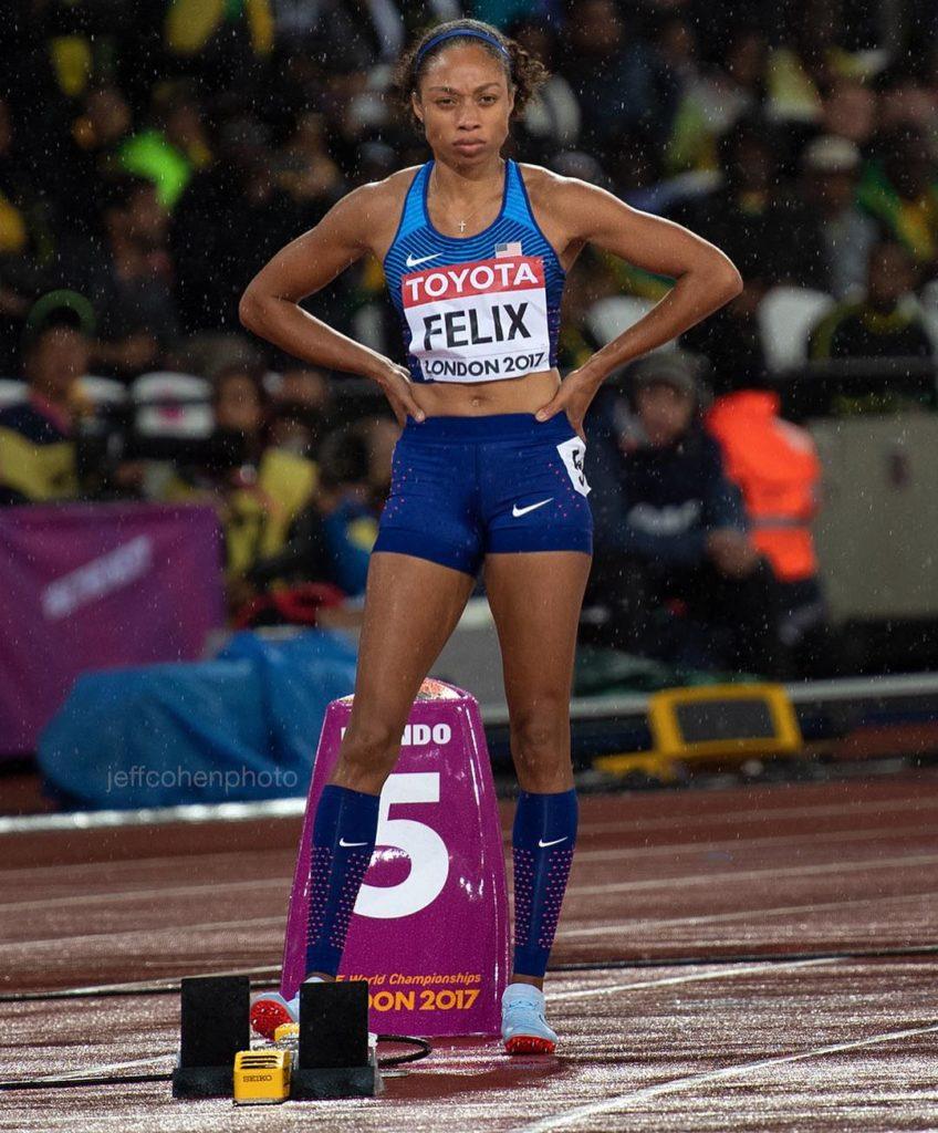 Allyson Felix, la donna che ha battuto il record di Bolt, a 10 mesi dal parto