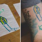 I Tatuaggi di Questo Papà Sono I Disegni del Figlio