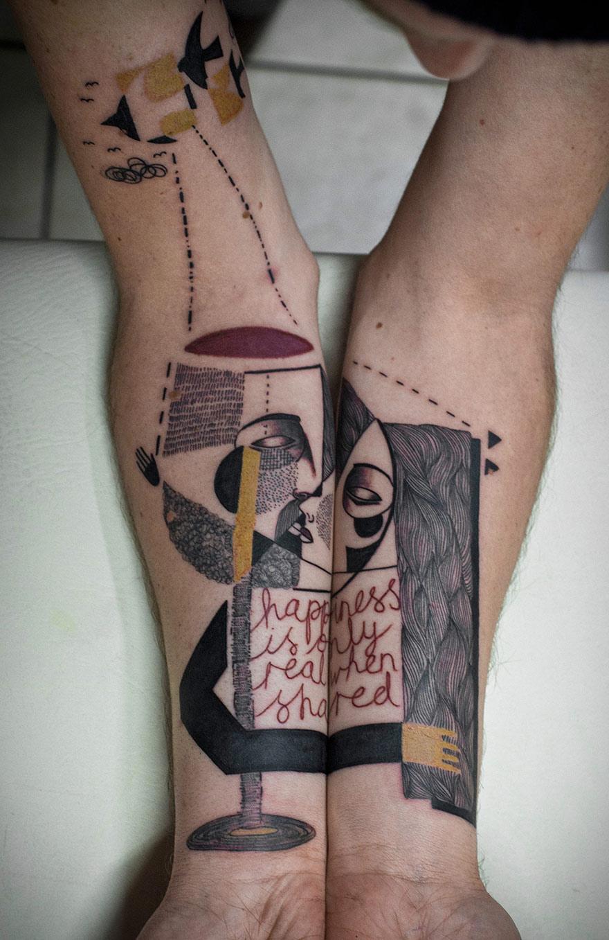Tatuaggi Surreali Ispirati al Cubismo che Raccontano Storie Vere