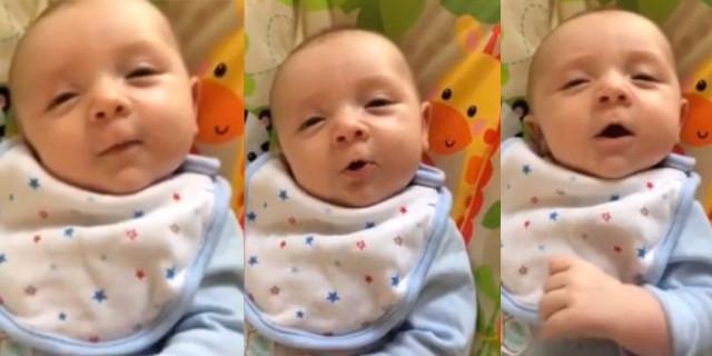 Ciao! Il Tenero Saluto di Questo Neonato di Sole 7 Settimane alla Mamma