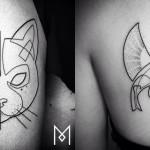 Mo Ganji e le Sue Creazioni: Tatuaggi Minimal Disegnati con Una Sola Riga