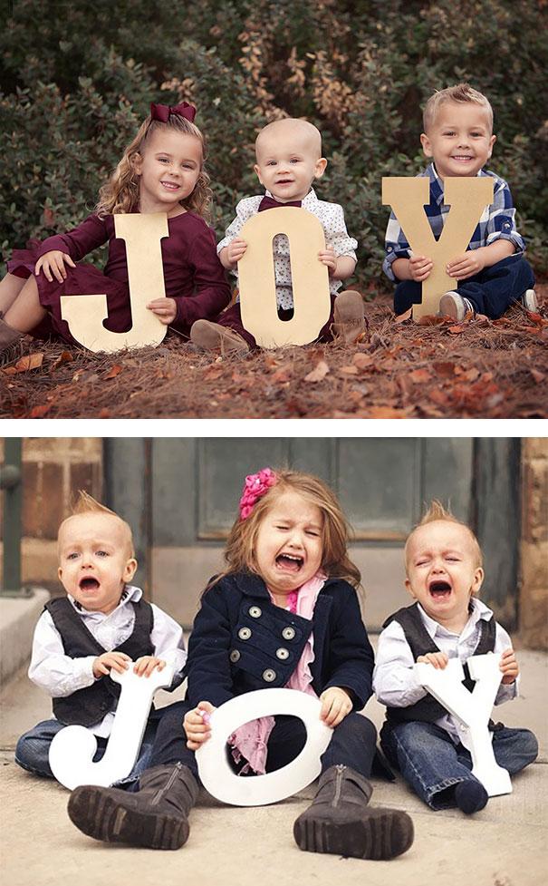 25 divertenti foto di bambini che non sono uscite come gli originali a cui si ispirano