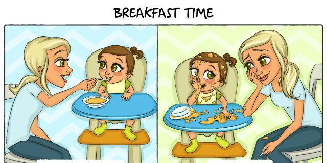 Diventare mamma: aspettative VS realtà. 9 immagini che solo chi è genitore può capire