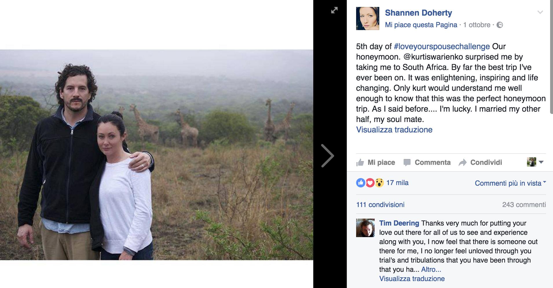 """""""In salute e in malattia"""": Shannen Doherty pubblica 8 foto per raccontare il suo amore più forte del cancro"""
