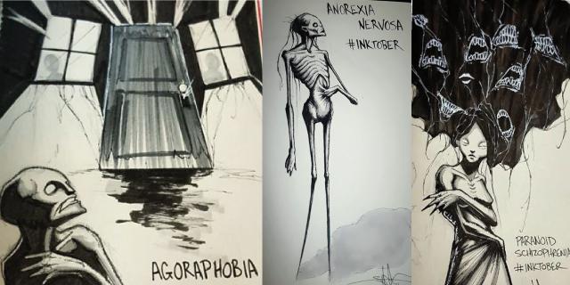 18 disegni mostrano il dramma delle malattie mentali. Solo chi ne ha sofferto può capirli